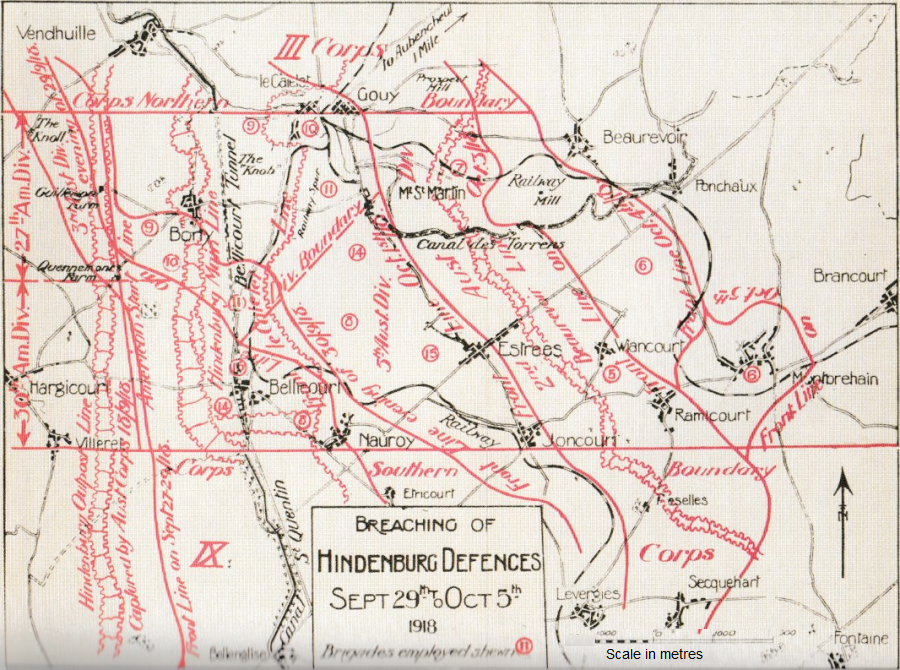 Map of the Hindenburg Defences