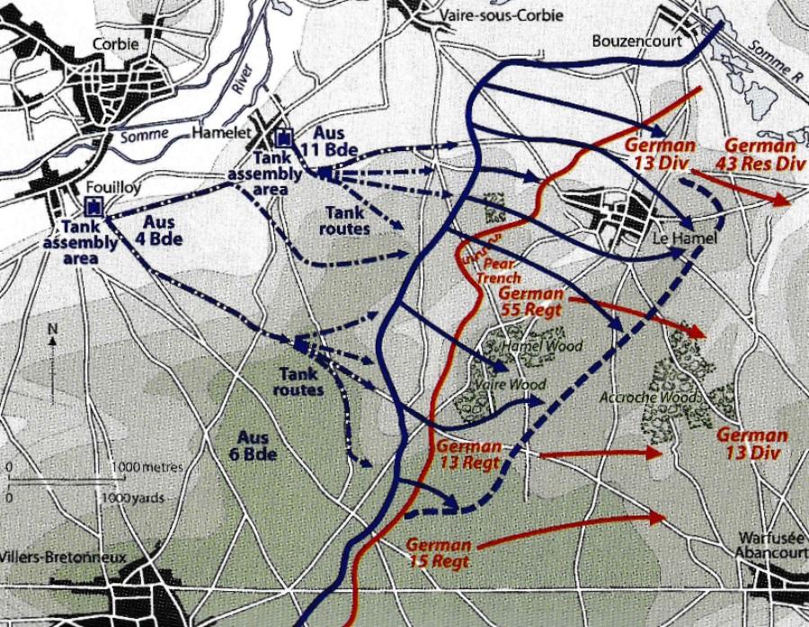 Map of the Le Hamel Battle